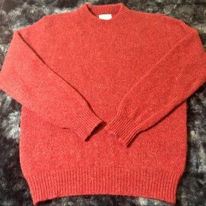 L.L. Bean Marled Red Wool Sweater Size Large